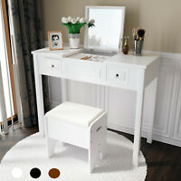 Vanity Set Make-up Dressing Table w Cushioned Stool Flip Top Mirror Writing Desk
