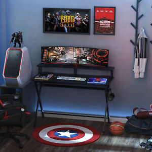 HOMCOM Gaming Computer Desk Writing Table w/ Headphone Hook Curved Front