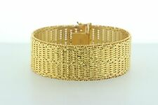 """Veronese Italy 925 Sterling Silver Gold Vermeil Woven Texture Wide Bracelet - 7"""""""