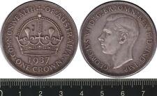 Australia: 1937 One Crown King George VI silver Five Shillings KGVI 5/-
