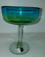 Pier One Margarita Glass Blue & Green Stemmed Large Mouth Blown
