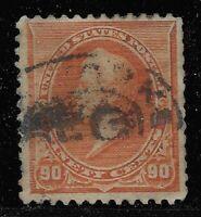 US Scott #229, Single 1890 Perry 90c Used FVF