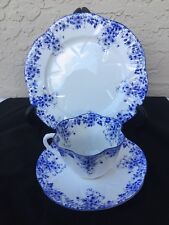 VINTAGE SHELLEY DAINTY BLUE FINE BONE CHINA TRIO CUP SAUCER & DESSERT PLATE