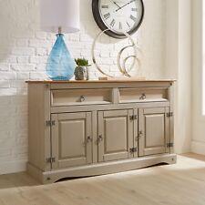 Corona Grey Sideboard 2 Drawer 3 Door Cupboard Solid Mexican Pine Wooden Seconds