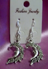 Nice New Tibetan Silver Medium Size Celestial Moon Charm Dangle Drop Earrings
