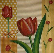 4 X Papel Servilletas Decoupage Craft mesa única fiesta rojo tulipán flores -25