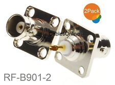 2-Pack Commercial Grade BNC Female Jack Bulkhead Panel Chassis Mount Connector