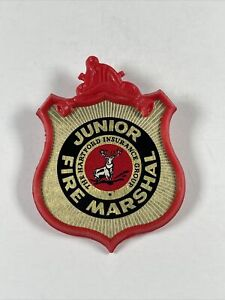 "2"" Vintage Junior Fire Marshal Hartford Insurance Badge Pin Button 1965"