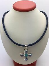 Sterling Silver Cross Pendant w/ Water Pearl &Turquoise & Blue Leather Necklace