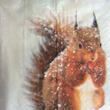 paper napkins decoupage x 2 christmas squirrel 21cm