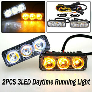 2x LED Daytime Running Light 3LED DRL White Turn Signal Amber Fog Lamp Bulbs 12V