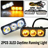 LED Daytime Running Light 2PCS 3 LED DRL White Turn Signal Amber Fog Lamp Bulbs