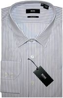 NEW HUGO BOSS WHITE w PURPLE STRIPES REGULAR FIT DRESS SHIRT 17 36/37