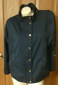 Chico's Blue Unlined Jacket Stand-Up Collar Snaps Zipper Roll Tab Sleeves Size 3