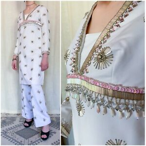 Vintage 60s Valentina White Jeweled Beaded Tunic Dress Pantsuit Hippie Boho XS S