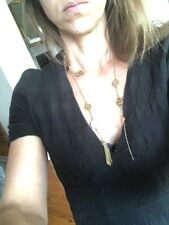 Vintage Gold Coin Lariat Necklace Long