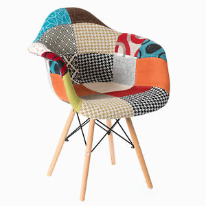 Multicolor Fabric Patchwork DAW Shell Dining Chair with Wooden Dowel Eiffel Legs