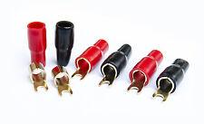 6x Gabel Kabel Schuhe Gabelschuhe bis 25mm² Stecker vergoldet, isoliert