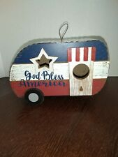 New listing Birdhouse Hanging Decor Outdoor Garden god bless America Metal Wood camper Nwt