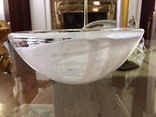 "Kosta Boda Anna Ehrner Glass Atoll White Swirl 8.75 "" Bowl Sweden"