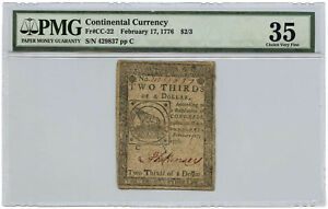 February 17, 1776 $2/3 Continental Currency PMG Choice VF-35 Fr #CC-22 Stained