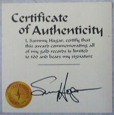 SAMMY HAGAR Genuine Autographed Signed Signature Card-Van Halen