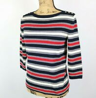 Talbots Womens Top Large 3/4 Sleeves Blouse Stripes Size S
