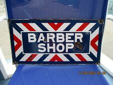 Vintage Original Porcelain Barber Shop Sign 18 x 9