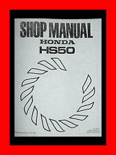 Honda HS50 HS70 HS80 Snowblower 2-Stage Repair Manual track wheel drive