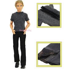 Casual Outfit Basic T-Shirt Plain Black Pants Clothes For Barbie Ken Doll L9A