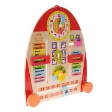 Horloge Enseignement Calendrier en Bois Jouets Educatifs Enfant Enseignement