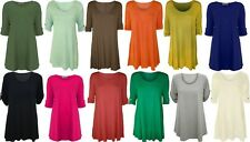 NEW WOMENS PLUS BIG SIZE PLAIN DIAMONTE TWO BUTTON TOP FLARED LONG TOP  UK 14-28