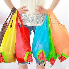 10pcs Reusable Foldable Eco Friendly Totes Strawberry Shopping Bags Nylon Bags