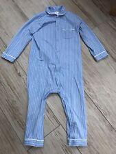 H&M Blue & White Pinstripe Pyjama Romper Age 2-3