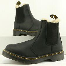 Dr. Martens WOMEN'S Black Leather Leonore Faux Fur Ankle Boots Size 6L US