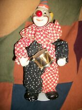 """Vintage Porcelain Wind up - Musical Moving 12"""" Clown Doll w/ stand Plays Drums"""