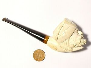 Vintage Man in Turban Hand Carved Meerschaum Smoking Pipe a/f #23