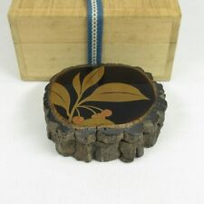 C050: High-class Japanese old lacquer ware incense case w/fine MAKIE and NASHIJI