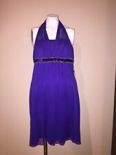 En Focus Studio Purple Halter Evening Cocktail Clubwear Party Dress Size 10