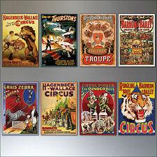 VINTAGE Circo y rendimiento Pósters Imanes de nevera Conjunto 8