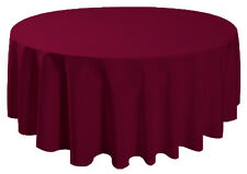 "90"" Round Tablecloth Table Cover Seamless Wedding Banquet - BURGUNDY RED"