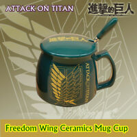 Attack on Titan The Freedom Wing Ceramic Coffee Tea Mug Cup Cosplay w/ Lid Spoon