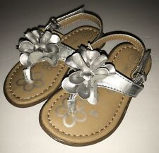 Cherokee® Jess Sandals Little Girl's Silver Flower Shoe SIZE 6