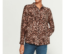 NEW Pleione Covered Button Front Long Sleeve Leopard Print Blouse Medium M
