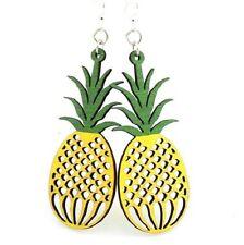 Green Tree Jewelry  Pineapple Fruit Wood Wooden Laser Cut Earrings #1037