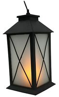 28cm Tall Led Battery Operated Flickering Candle Lantern Black Dinner Candles