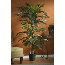 Artificial Trees Fake Tree Natural Look Palm Leaves Potted Faux Plant 6.5 Foot