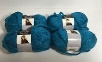 4 Loops & Threads Dewdrops Sequin Yarn 6 Super Bulky Color 8 Turquoise Lot
