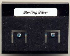 Blue Crystal 2mm Sterling Silver 925 Studs Earrings Carded