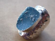 Tropicalia Handcrafted Blue Drusy Agate Band Ring One Size Silver Tone Alloy